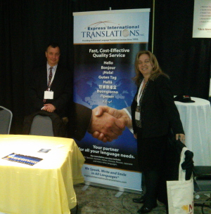 Philippe Vitu, President of Express International Translations Inc. and Dora D'Uva, Director of marketing and Business Development at our booth during Naturallia 2013 at Sault Ste. Marie.